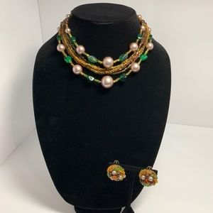 Vintage Beaded Faux Pearl Earth Tones Necklace Set